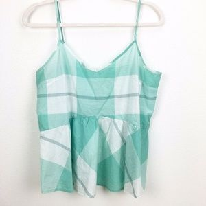 Old Navy Green Plaid V-neck Peplum Tank Top M